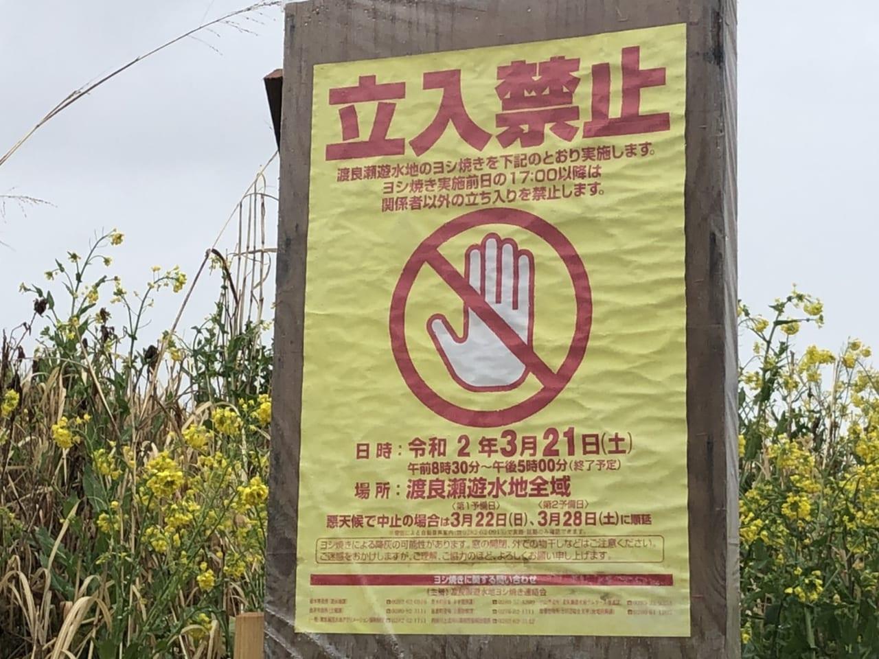 渡良瀬遊水地ヨシ焼き期間中立入禁止